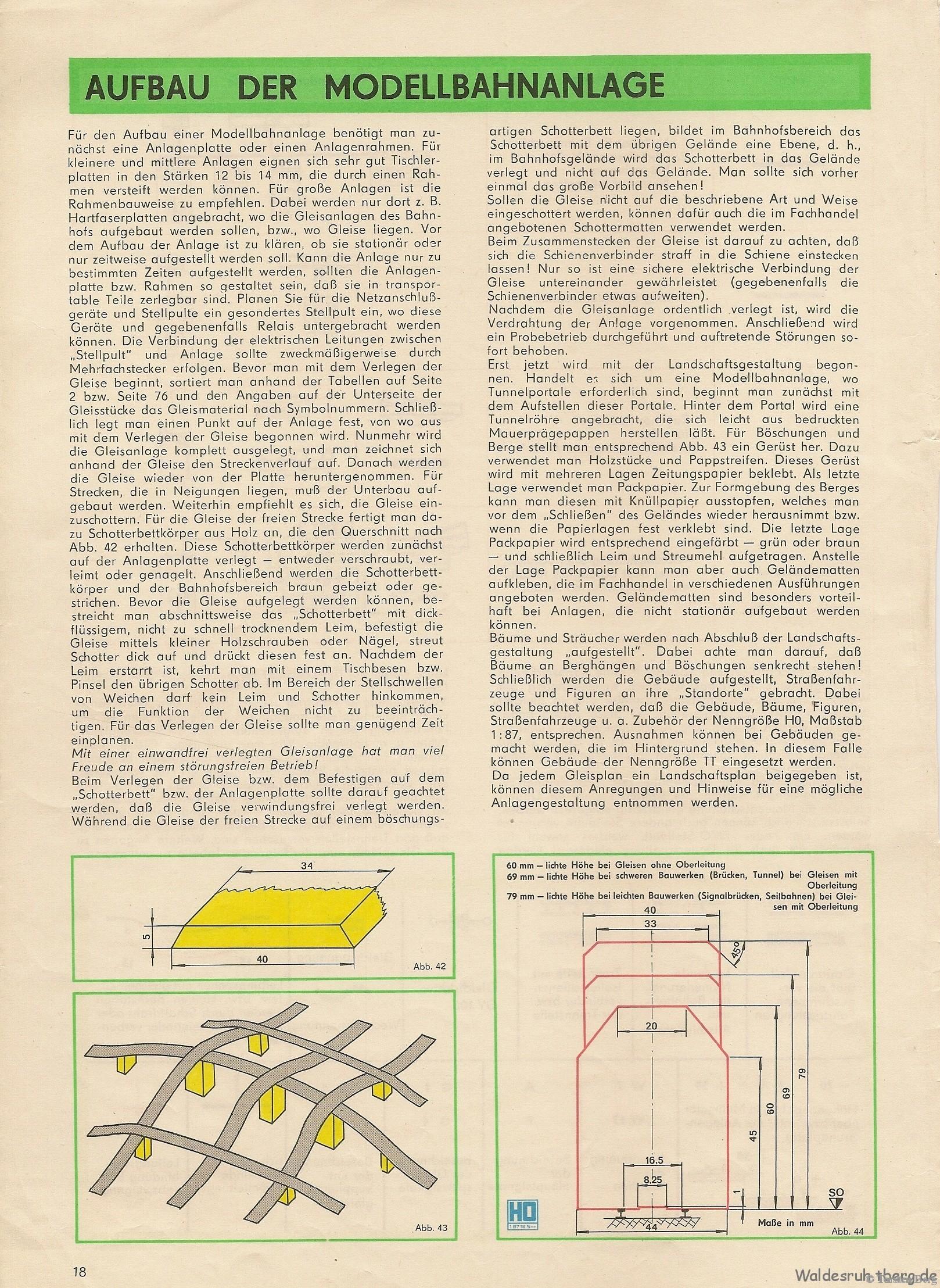 19 Aufbau der Modellbahnanlage - Aus dem Gleisplanheft des VEB Kombinat PIKO