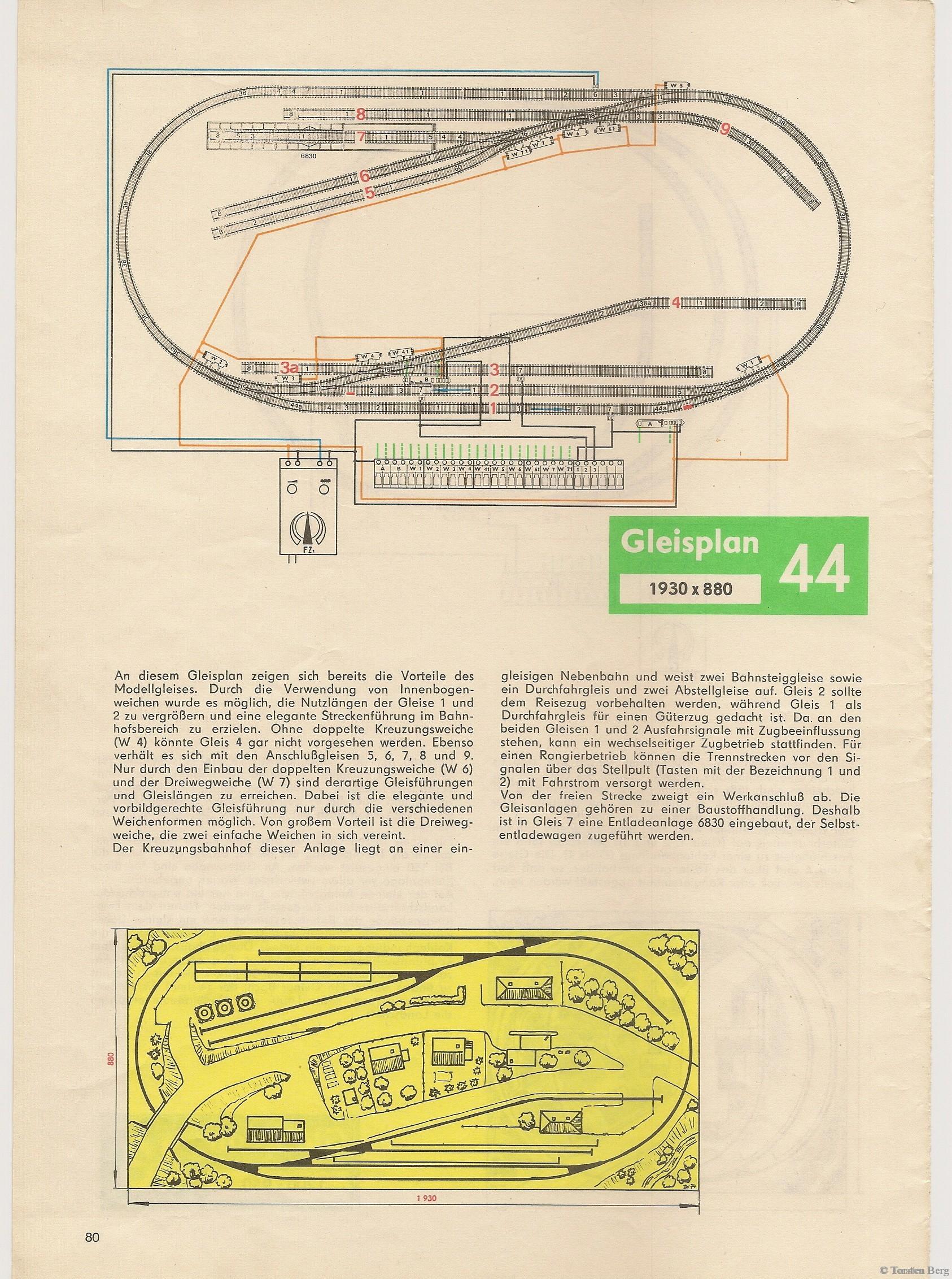 81 VEB Kombinat PIKO Standardgleis-Gleisplan 44