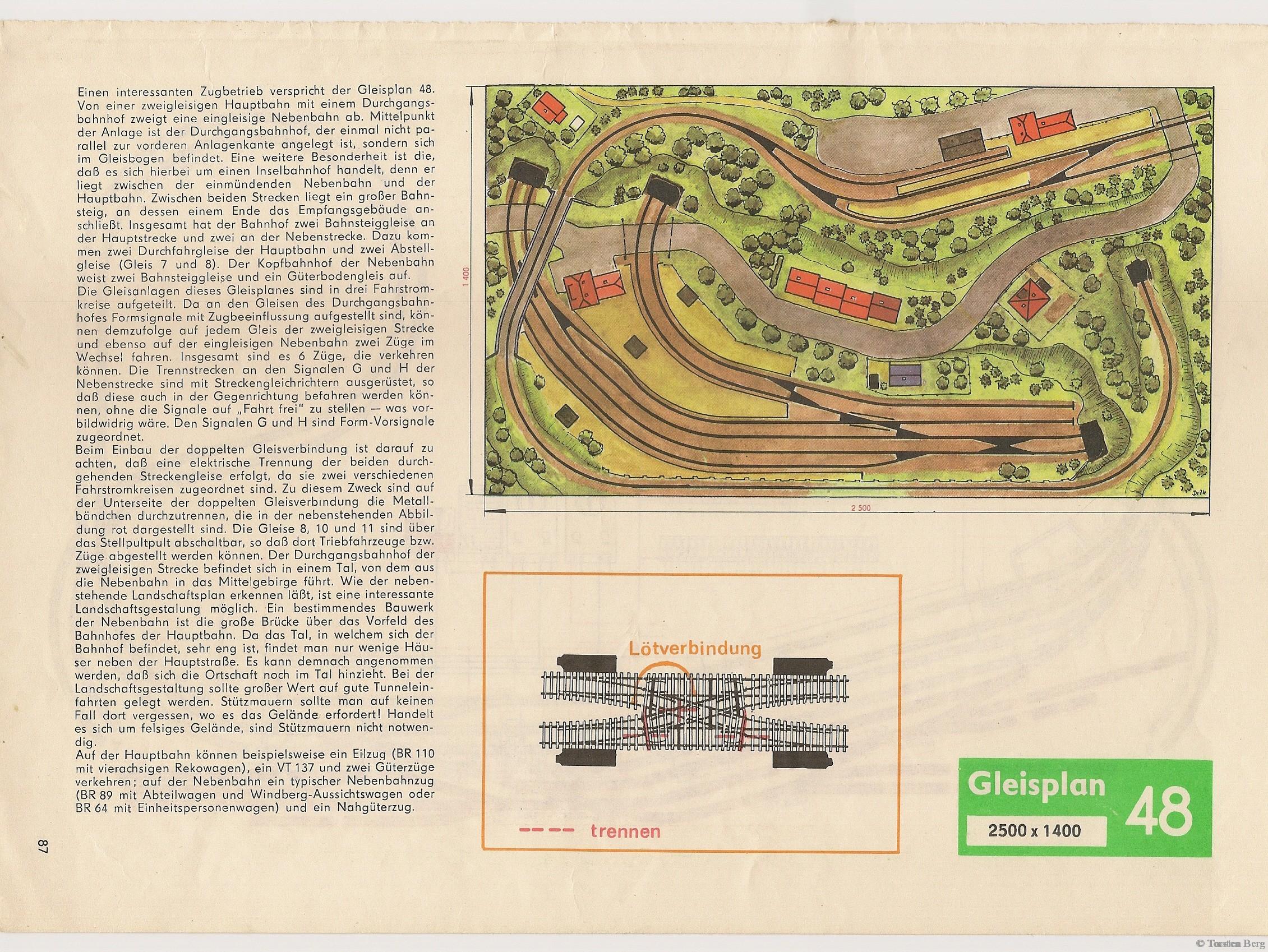 VEB Kombinat PIKO Standardgleis-Gleisplan 48