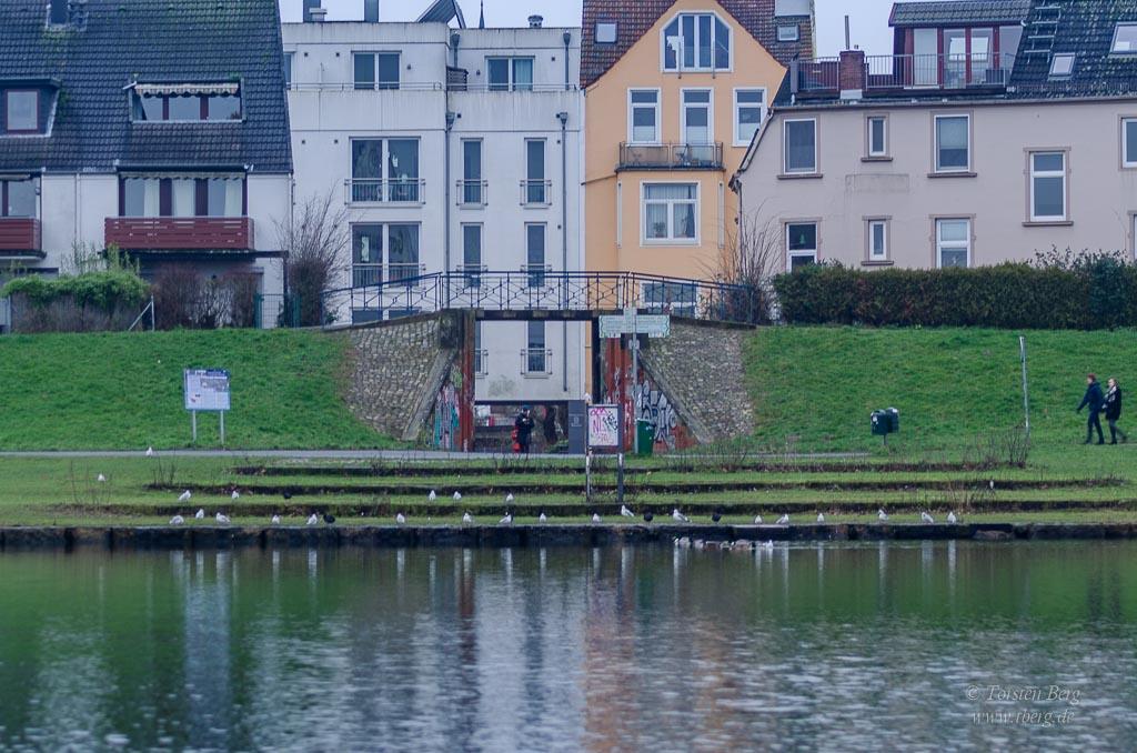 Zugang über die Deichschart zur Kleinen Weser