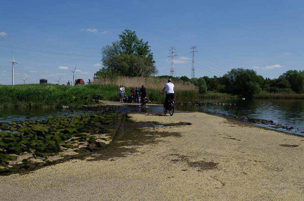 Fahrradtour Tidebiotop in Niedervieland - die Furt im Tidebiotop
